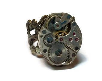 Steampunk Ring with Watch Parts