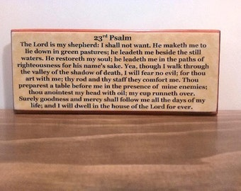 The Lord is my Shepherd. 23rd Psalm, Small wood desk sign, Inspirational, Christian, Family home decor. Psalm 23.