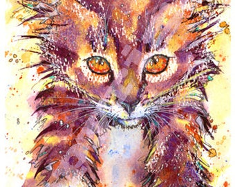 CAT PRINT Picture Cats Kitten of Original Watercolour Painting Watercolor Chat Katze Painting Picture Art Artwork by Josie P.