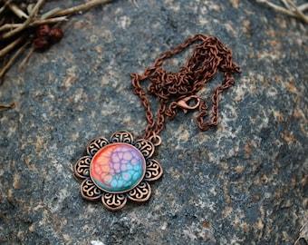 Orange, Purple &  Teal Flower Necklace | Hand Painted Bronze Necklace