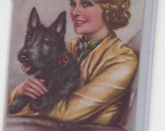 Postcard Size On Light Print Paper Pretty Blond Woman Sits With Scottish Terrier Scottie Dog Everyone Is Happy
