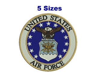 US AIR FORCE emblem Digitized filled Machine embroidery pattern design 5 sizes Digital Download
