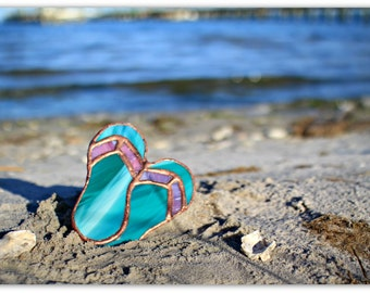 Paradise Sandals, stained glass flip flops, stained glass suncatcher, flip flops, sandals, tropical, decor, gifts, home decor, glass, art