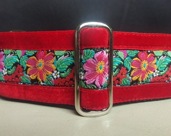 "Martingale Collar - Whippet, and small to medium dog - 1.5"" width - Red Floral with velvet"