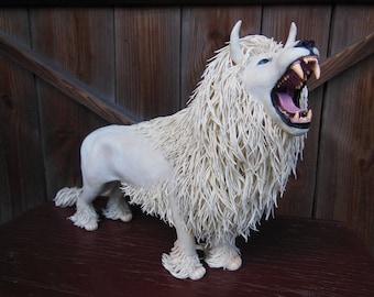 White Lion statue - original handmade OOAK, lion sculpture, lion figure, lion figurine, lion king, creature, lion totem, animal figure