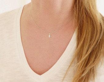 Tiny Cross Necklace + Tiny Necklace + Sterling Silver Cross Necklace + Delicate Necklace + Delicate Choker + Dainty Necklace + Dainty Choker