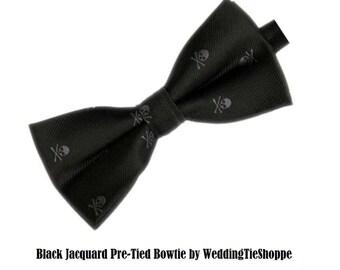 Black and Gray Skull Bow Tie Men's Wedding Pretied Bow Ties Groomsman Groomsmen Skull Bowties Groomsman Tie Groom Best Man Crossbones