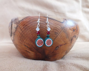 Watermelon earrings, red, white and green earrings, Swarovski bicone earrings