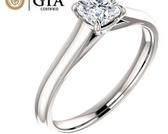 0.50 Carat GIA Certified Solitaire Cushion Engagement Ring in Solid 14K White Gold