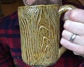 Lumberjack Mug, Morning Wood, Lumbersexual, Handmade, coffee, 20oz, Large Manly pottery Mug, beard accessories, mens goods, gift for him