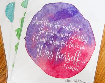 Self Love Quote - Self Care Quote - Mental Health - Female Empowerment - Inspiration for Her - Original Poetry - Watercolor Wall Art for Her