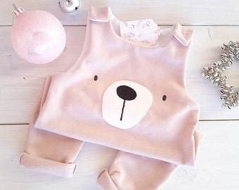 Baby Girl overalls, Bib Overalls, BabyPink Animals baby bear, plush Jumpsuit, infant clothing, Little Bear Baby Romper, bear
