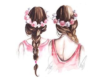 Best Friends - Fashion illustration, Fashion Wall art, Fashion print