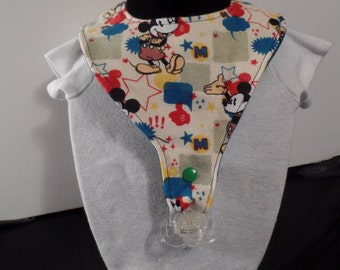 Pacifier bib for ages 6 months to about 2 years, binkie bib, baby gift, drool bib