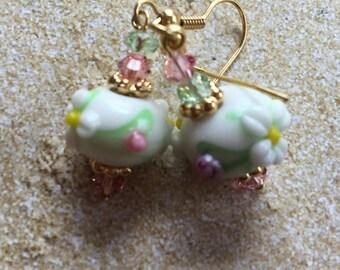 Lampwork Flower Earrings, Lampwork Floral Earrings, Glass Earrings, Statement Earrings