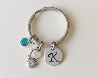 Volleyball keychain, personalized volleyball key ring, hand stamped volleyball gift for sports team, volleyball mom, volleyball coach gift