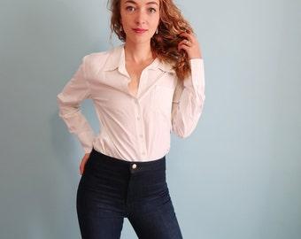 Vintage White Long Sleeve Blouse
