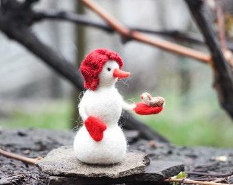 Needle felted Snowman with a bird, Christmas Snowman, Christmas ornaments, Christmas Gift