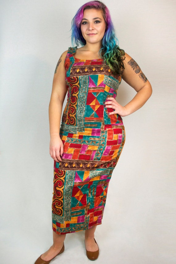 Vintage Tribal Print Maxi Sleeveless Button Slit Slinky Fitted Dress Size Large - XL