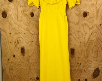 You are my Sunshine Vintage Yellow Dress || Retro 60s 70s Full Length Formal Dress