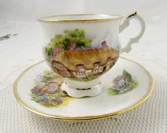 Vintage Elizabethan Tea Cup and Saucer with Cottage, Fine English Bone China