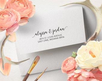 Wedding Address Stamp, Calligraphy Return Address Stamp, Custom Wooden or Self Inking Invitation Stamper, Elegant Font, Wavy Type Stamp 70