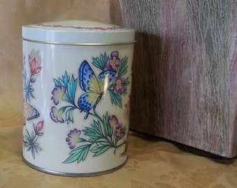 Vintage Tin Daher Butterfly Tin Made in England Tea Canister Estate