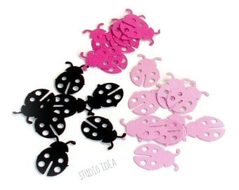 Black & Pink Ladybug Confetti,  Lady bug Cut outs - or CHOOSE YOUR COLORS - Set of 50pcs, 100pcs