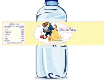 Custom Belle Printable Water Bottle Labels-Personalized The Beauty and the Beast Bottle Tags, DIY (You Print) Water Bottle Label