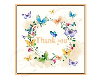 "INSTANT DOWNLOAD Elegant ButterfliesThank you Tags- 2.5"" PRINTABLE Spring Tag - Floral wreath with Butterflies square tags-Digital file"