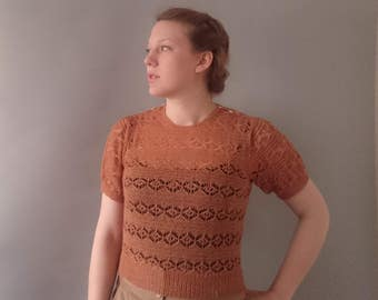 1940s sweater pure merino wool lace knit sweater reproduction knit wear 1940s reenactment ww2 summer sweater