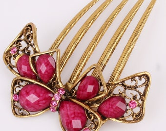 Vintage Pink Austrian Crystal & Gold Bow Hair Comb, Hair Pin, Hair Jewelry, Bridesmaid Gift #A356
