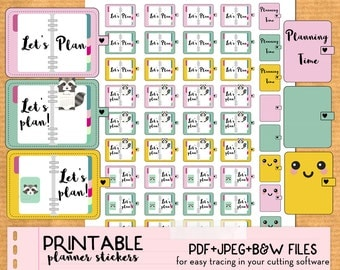Planning time, Plan, planner stickers- Cute Printable planner stickers, DIY, print and cut, PDF instant download