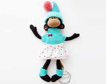 Stuffed monkey, stuffed animal, fabric doll, baby shower gift, nursery decor, kids toys, handmade toys, plush monkey, toy for girl