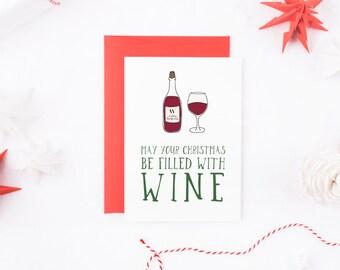 Funny Christmas Card, Wine Christmas Card, Booze Christmas Card, Funny Xmas Card, Alcohol Christmas Card, Christmas Card Him, Card For Her