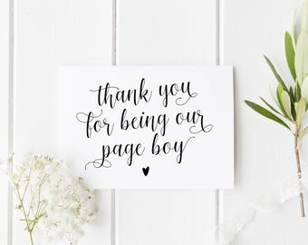 Thank You Page Boy Card, Thank You Pageboy, Wedding Thank You Card, Card For Page Boy, Calligraphy Page Boy Card, Our Page Boy Card, Pageboy