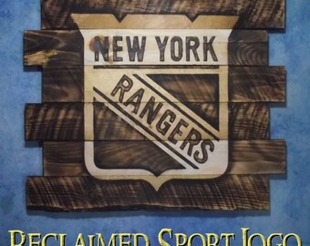 New York Rangers Hockey , Burnt wall hanging, 30X23, Shou Sugi Ban, Charred wood, Sports sign, Man cave, Rustic, Pallets, Wood Sports sign