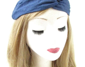 Blue Denim Turban Headband Twist Knot Hair Band 90s Festival Boho Vintage 721