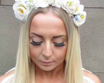 Ivory Cream Blue Rose Gypsophila Flower Hair Crown Headband Garland Orchid 1193