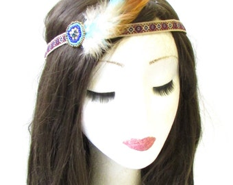 Native American Headdress Red Indian Feather Headband Brown Blue Festival 1453