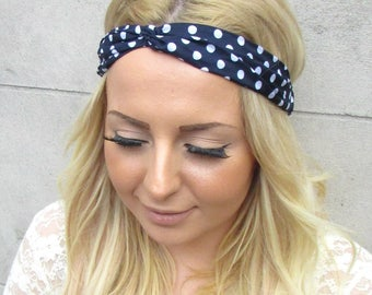 Rockabilly 1950s Navy Blue White Polka Dot Print Twist Turban Headband Hair 2325