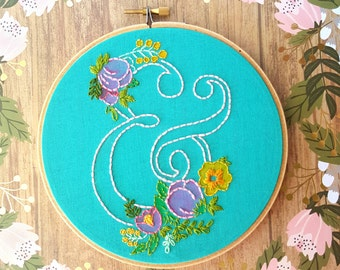 Ampersand Embroidery Hoop Art>Ampersand Wall Art>Nursery Decor>Floral Embroidery Designs>Gift Idea for Her>Gallery Wall Art>Home Decor
