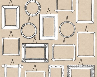 Doodle Frames Clipart. Hand Drawn Frames Clipart. Photo Borders, Frames, Tags. Black & White Scrapbooking Frames Clip Art - INSTANT DOWNLOAD