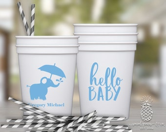 Elephant Baby Shower Cups | Personalized Plastic Cup | Monogram Cups | Little Peanut Party Favor Cups | Party Cups | social graces and Co.