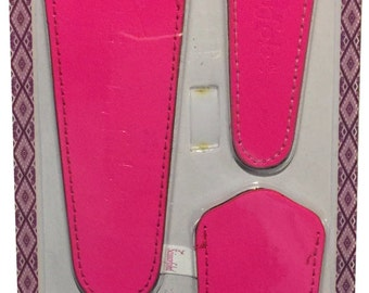 Scissors sheaths -VALUE PACK-4 sizes/pk- Designer Covers w/ScissorGripper Sewing Quilting Embroidery. Shiny Hot Pink. S-66. Free Shipping.