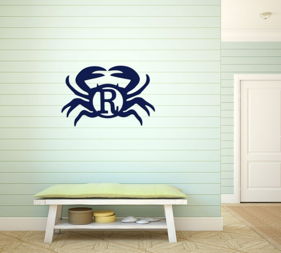 Painted Wood Monogram Door Hanger Crab Monogram Initial Birch Wood Monogram Wall Art Personalized Home Decor Monogram Decor Highway12Designs