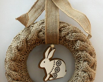 Easter Wreath handknitted from Jute, cable with wooden bunny detail, heirloom. Wedding guft. Easter gift.