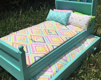 """Bookcase Trundle Bed and Bedding for 18"""" Doll"""