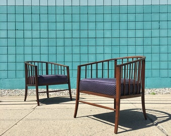 Danish Modern | Pair Sculptural Walnut Lounge Chairs | Mid Century