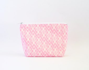 Geometric Cosmetic Bag, Zipper Pouch, Makeup Bag, Makeup Pouch, Cosmetic Pouch, Toiletry Bag - Pink Diamonds